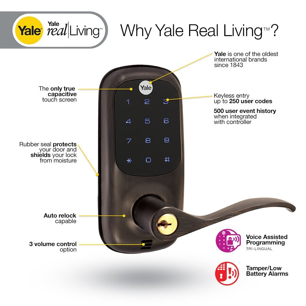Yale Z-Wave Real Living Keyless Touchscreen Lever Lock